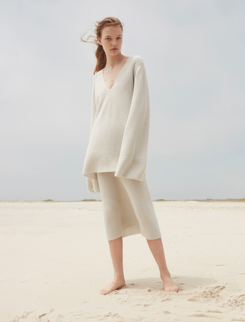 Calvin Klein Collection features v-neck cashmere sweater and midi-length sweater