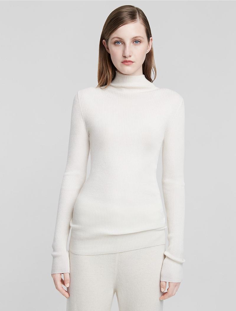 Calvin Klein Fine Cashmere Rib Mock Neck Sweater