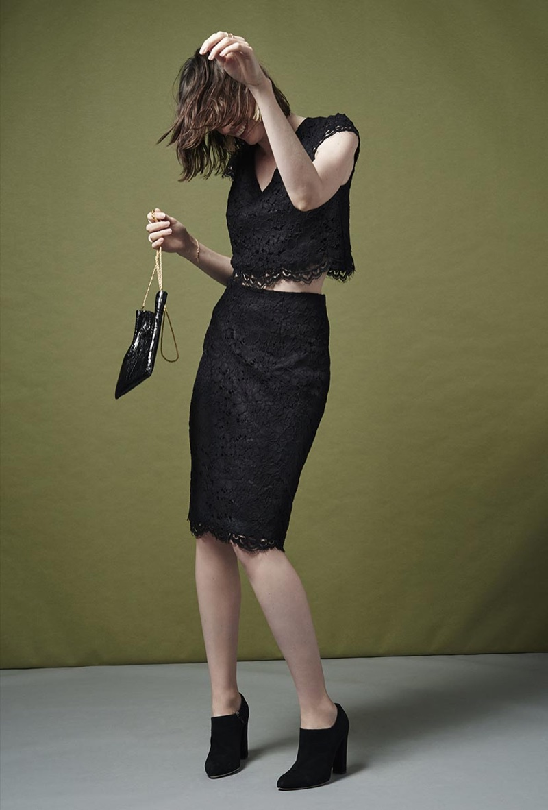 Club Monaco Mikena Lace Top, Katsuen Lace Skirt, TL-180 Evening Pouch and Hanne Suede Ankle Boot