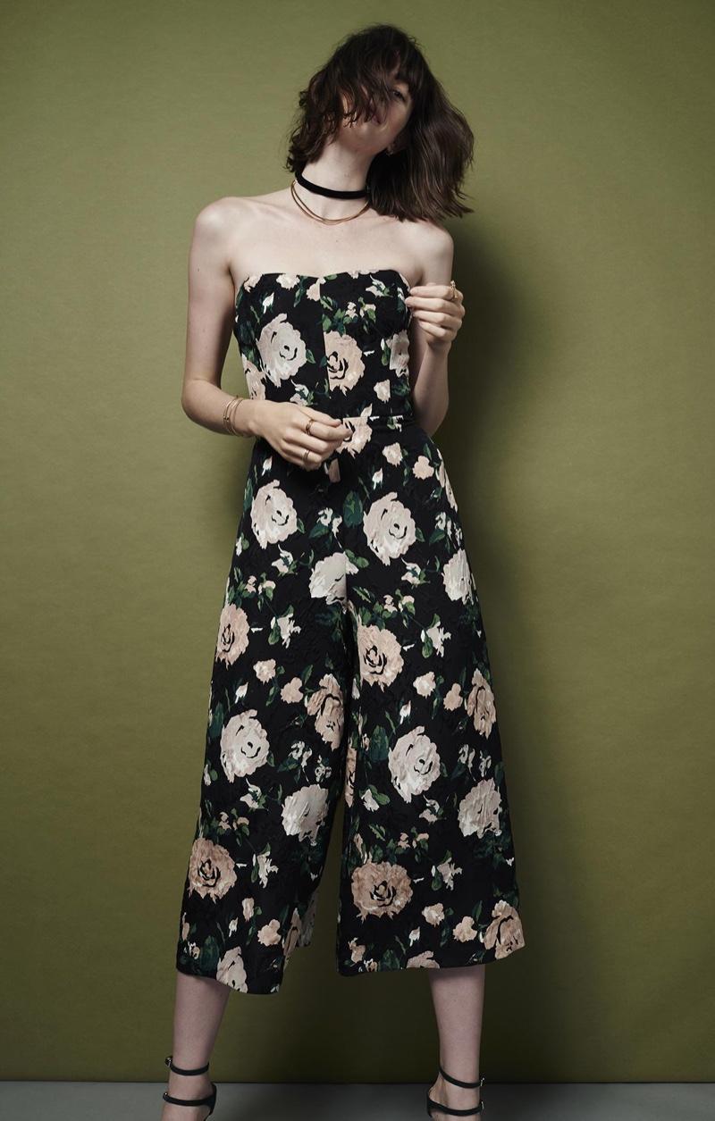 Club Monaco Derails Floral Jumpsuit, Velvet Bow Choker and Meradyth Suede Pump