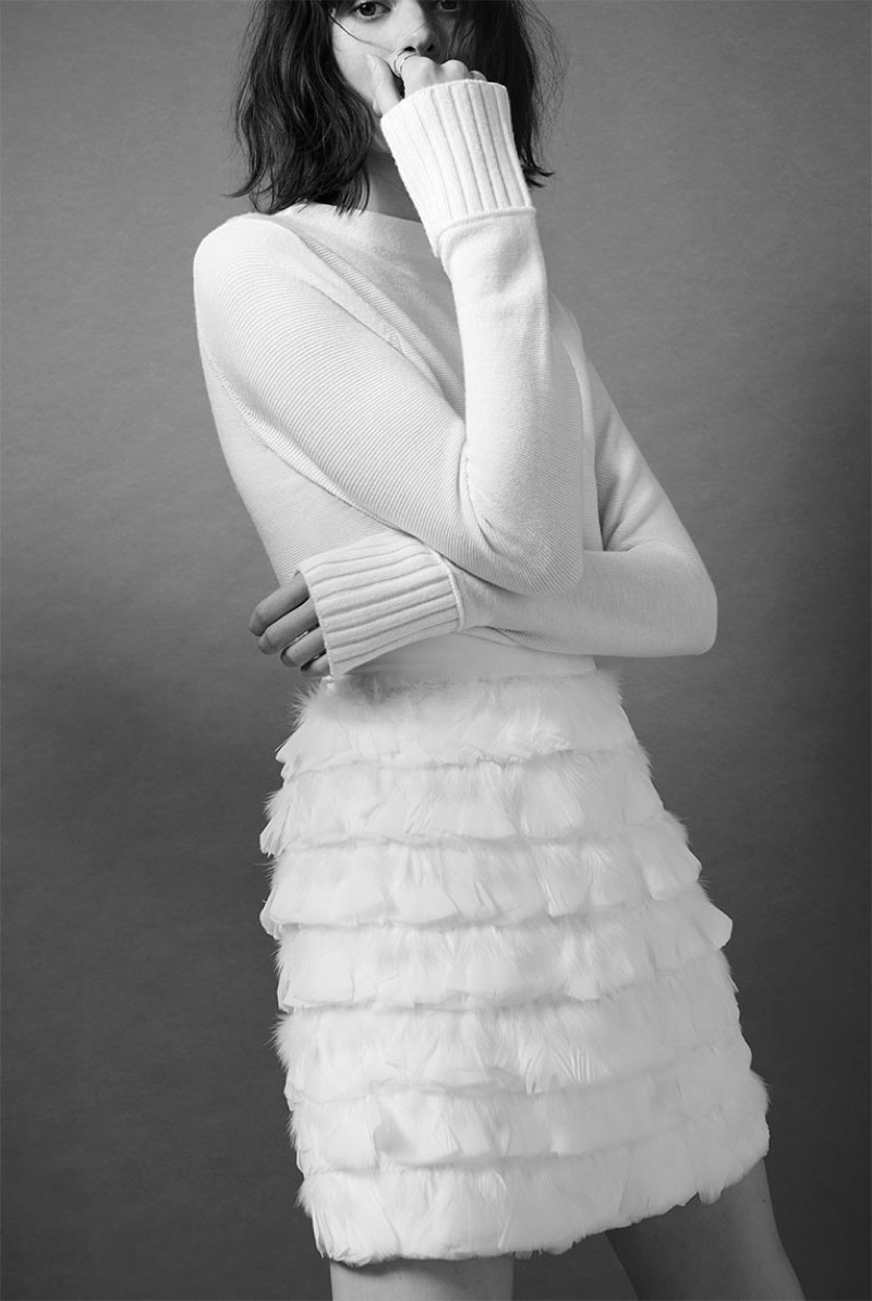 Club Monaco Tommie Merino Sweater and Fidelma Feather Skirt