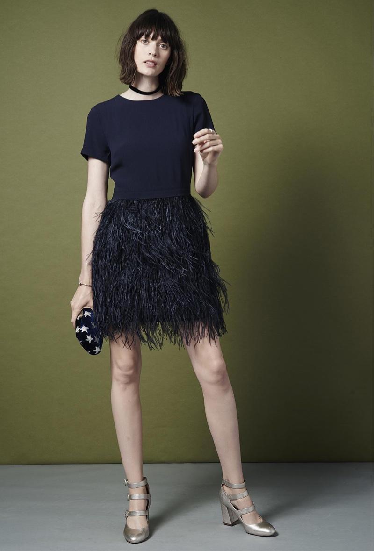 Club Monaco Brionia Feather Dress, Evening Velvet Bow Choker, Kayu Velvet Star Clutch and Yuulia Three-Strapped Heel