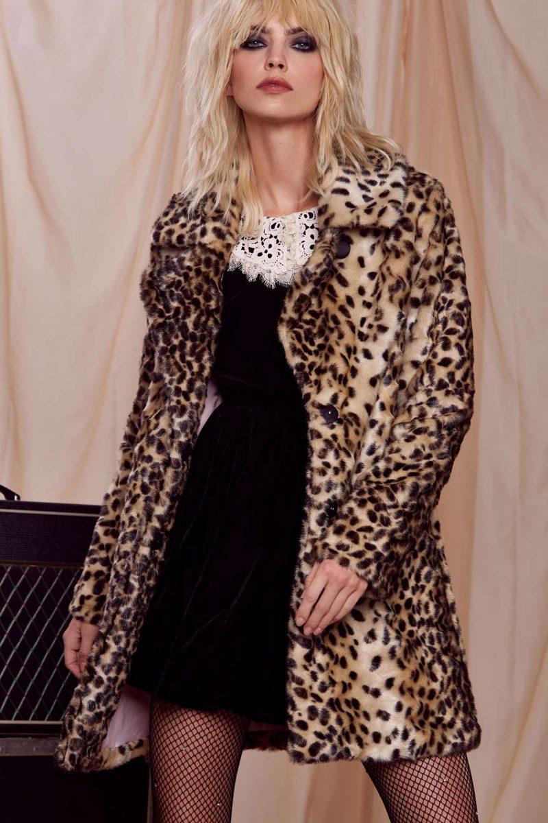 Courtney Love x Nasty Gal Faux Fur Animal Print Coat