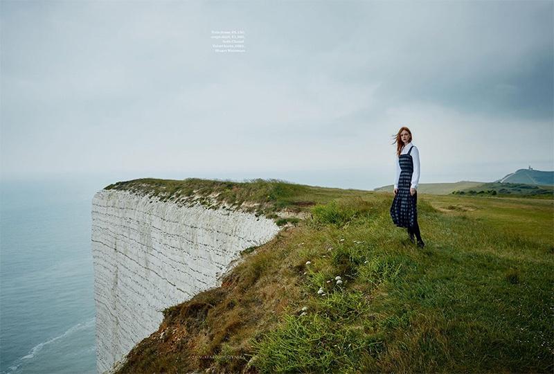 Dani Witt models Chanel tulle dress and crepe shirt with Stuart Weitzman velvet boots