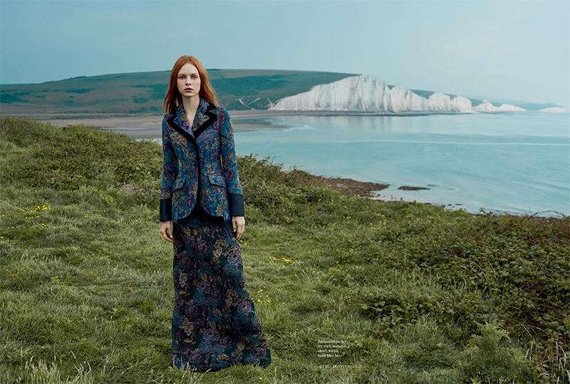 Dani Witt models Miu Miu jacquard jacket and skirt