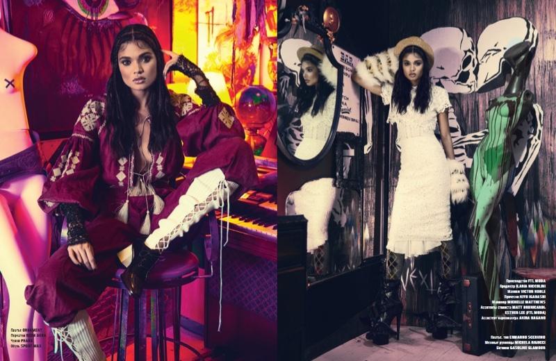 Model Daniela Braga serves bohemian vibes in elegant dresses