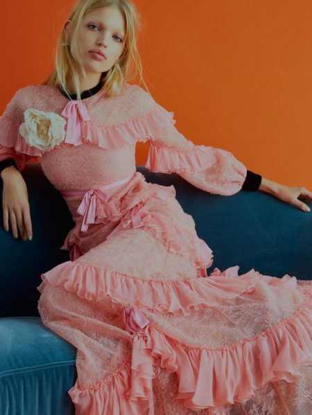 Daphne Groeneveld Stuns in Embellished Gowns for ELLE UK