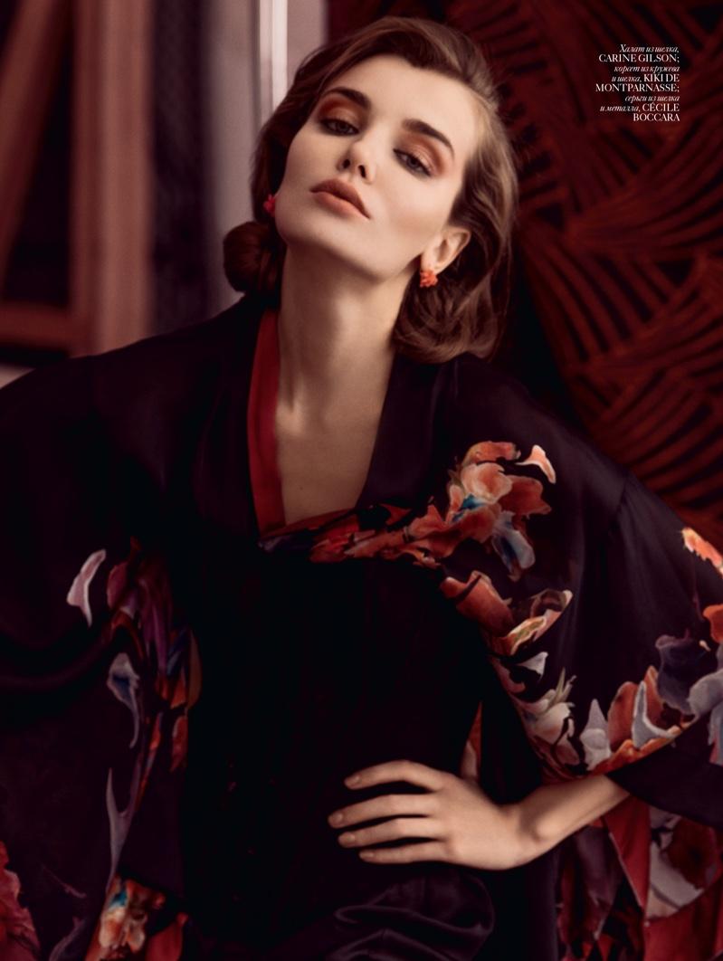 Daria Konovalova poses in printed robe