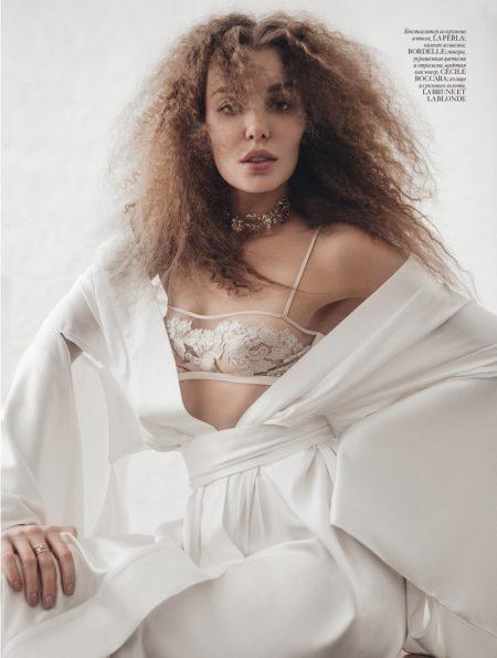 Daria Konovalova Poses in Dreamy Lingerie for Vogue Ukraine