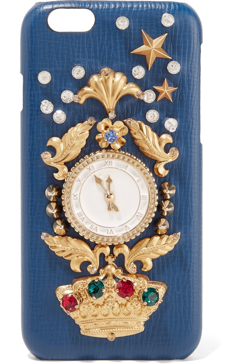Dolce & Gabbana Crystal Embellished Croc Effect Leather iPhone 6 Case $700