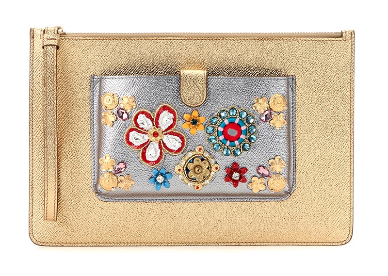 Dolce & Gabbana Embellished Metallic Leather Clutch