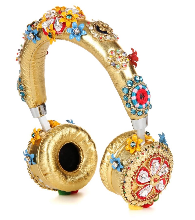 Dolce & Gabbana Embellished Metallic Leather Headphones