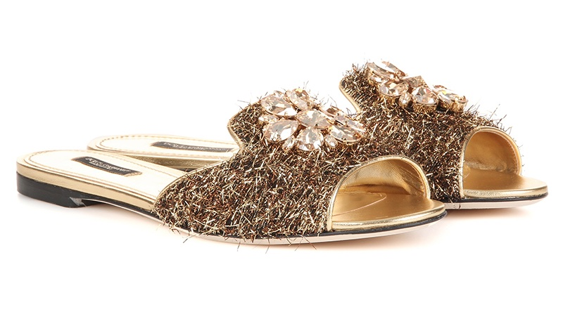 Dolce & Gabbana Embellished Metallic Slippers