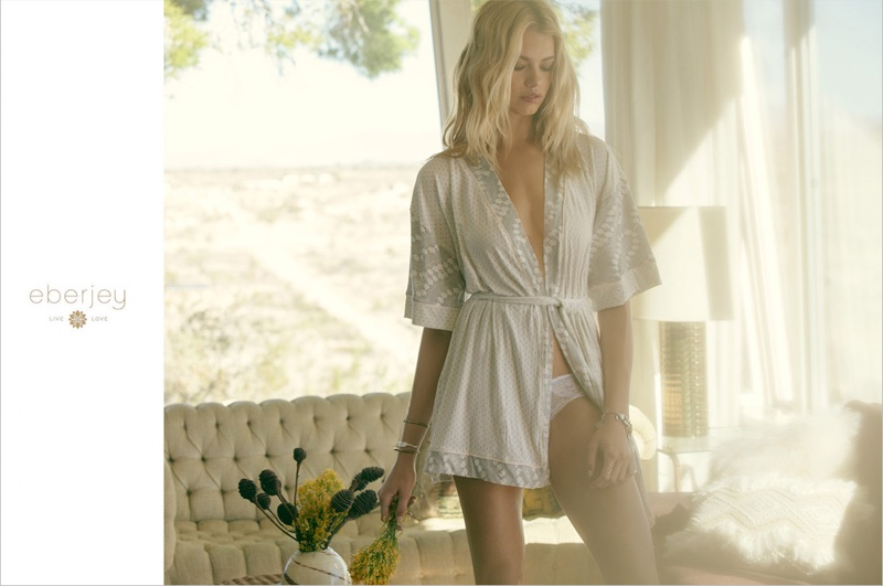 Photographed by Dove Shore, Hailey Clauson wears Stargazing robe from Eberjey