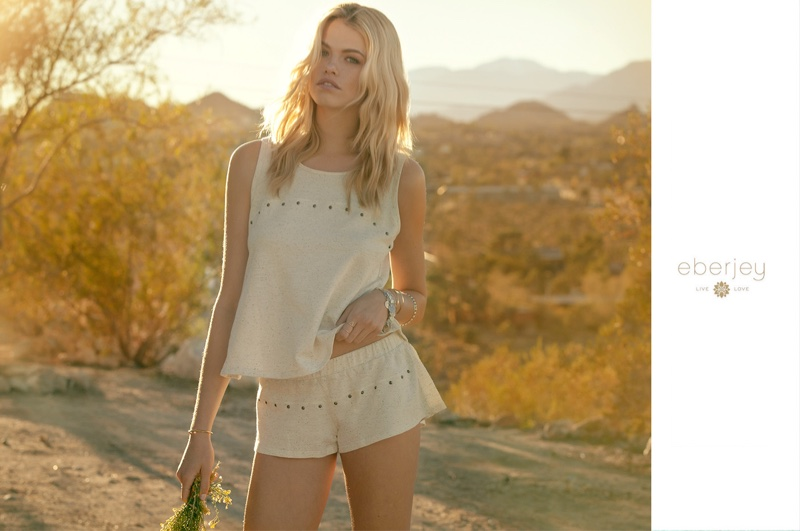 Hailey Clauson wears Lexie tank and Lexie shorts from Eberjey