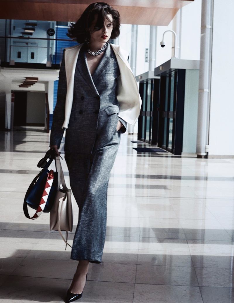 Suiting up, Elena Melnik takes a stroll in Max Mara jacket and pants