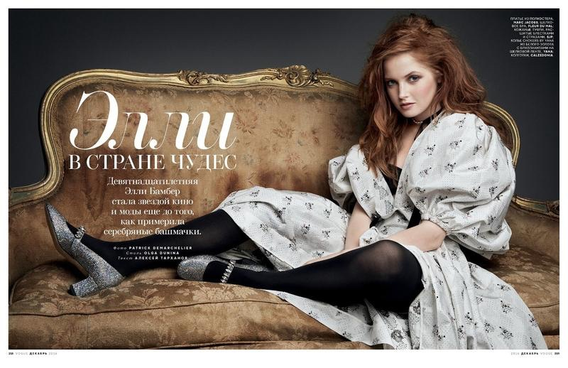 Ellie Bamber poses in Marc Jacobs dress with puffed sleeves and SJP shoes