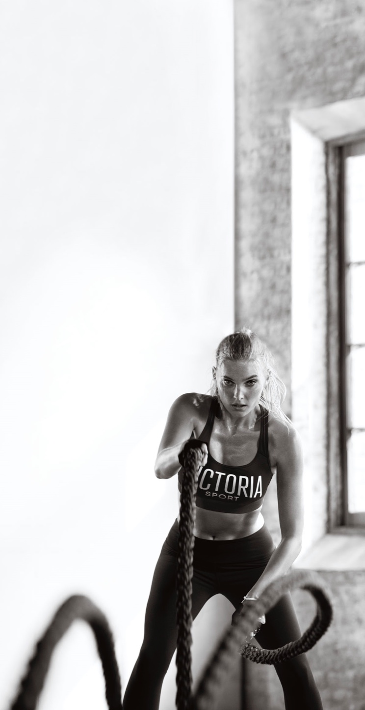 Working with ropes, Elsa Hosk poses in Victoria Sport-The Player Sport Bra