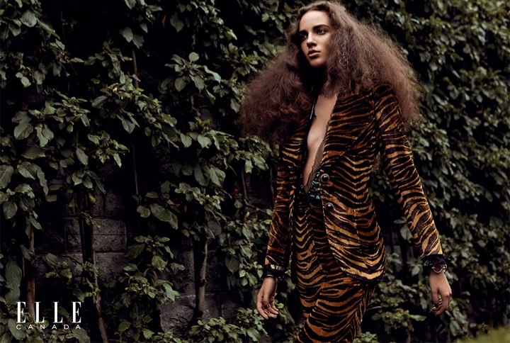 Emm Arruda suits up in tiger print blazer and pants from Roberto Cavalli