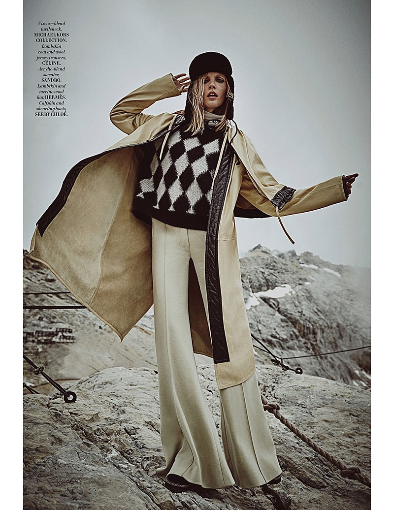 Emma Menteath hits the slope in Michael Kors turtleneck, Celine coat and trousers, Sandro sweater, Hermes hat and See by Chloe boots