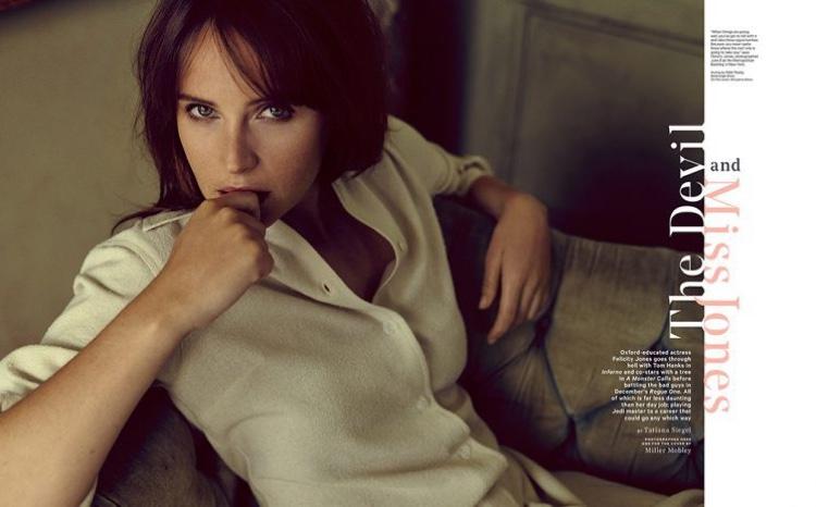 Actress Felicity Jones wears white blouse