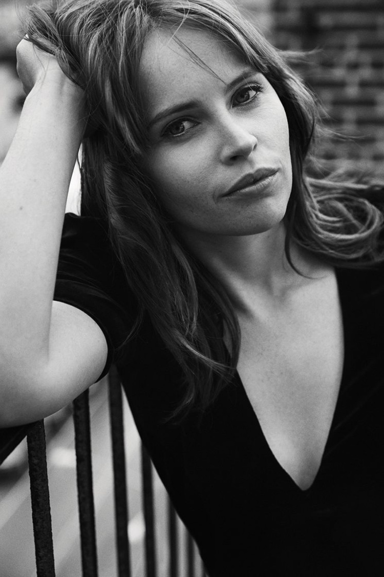 Felicity Jones gets her closeup in a black and white image