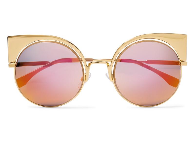 Fendi Eyeshine Cat Eye Gold Tone Mirrored Sunglasses $595