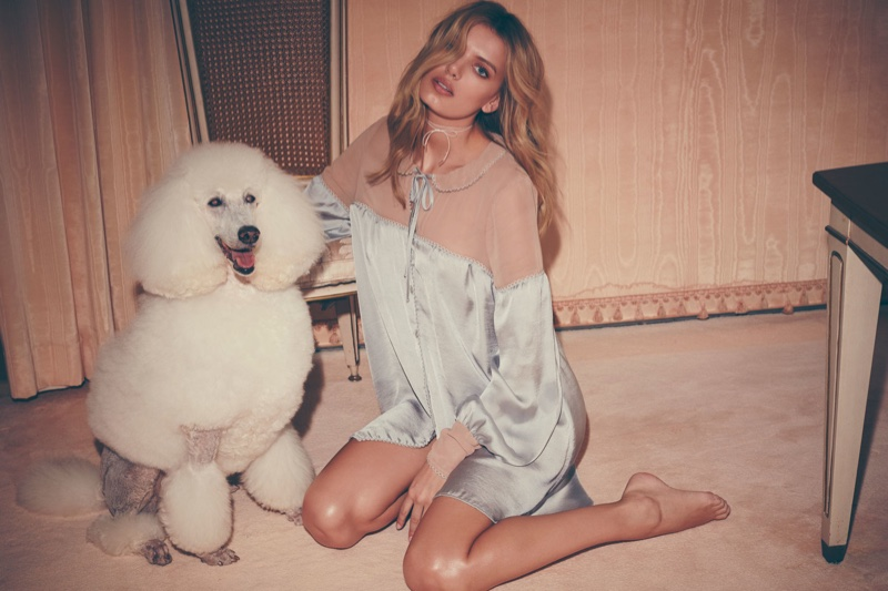 Model Bregje Heinen wears Soliana sleep shirt from For Love & Lemons