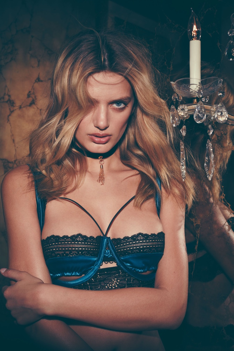 Bregje Heinen models For Love & Lemons' Lucienne Underwire Bra