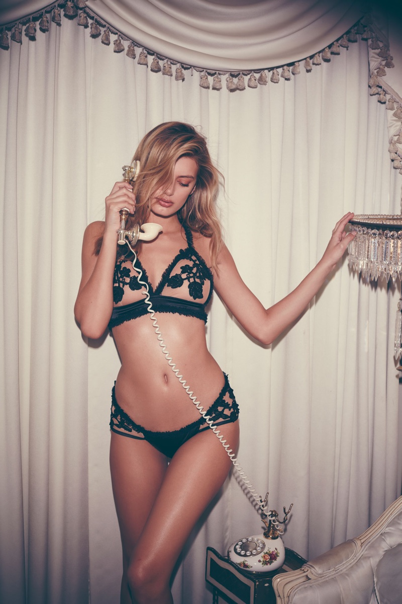 For Love & Lemons features Bordeaux Appliqué Bra and Bordeaux Appliqué Thong in Holiday Skivvies collection