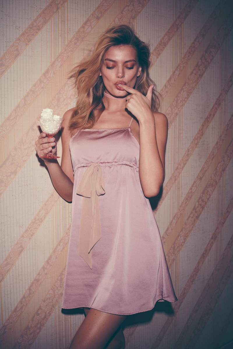 Model Bregje Heinen poses in For Love & Lemons slip dress
