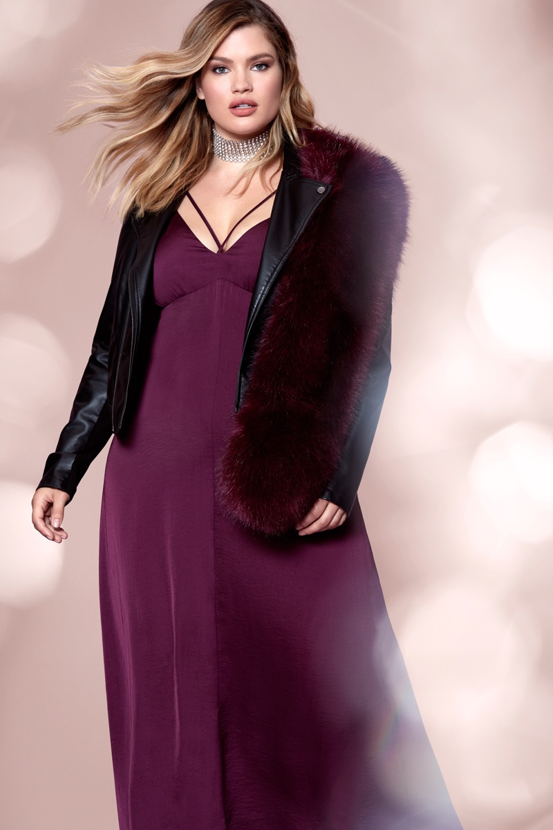 Tara Lynn poses in faux fur stole, leather jacket and maxi dress from Forever 21