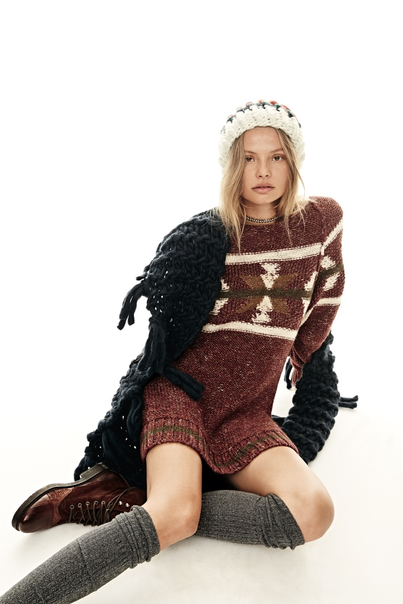 Free People Over The Rainbow Stripe Beanie and Northern Lights Sweater Dress