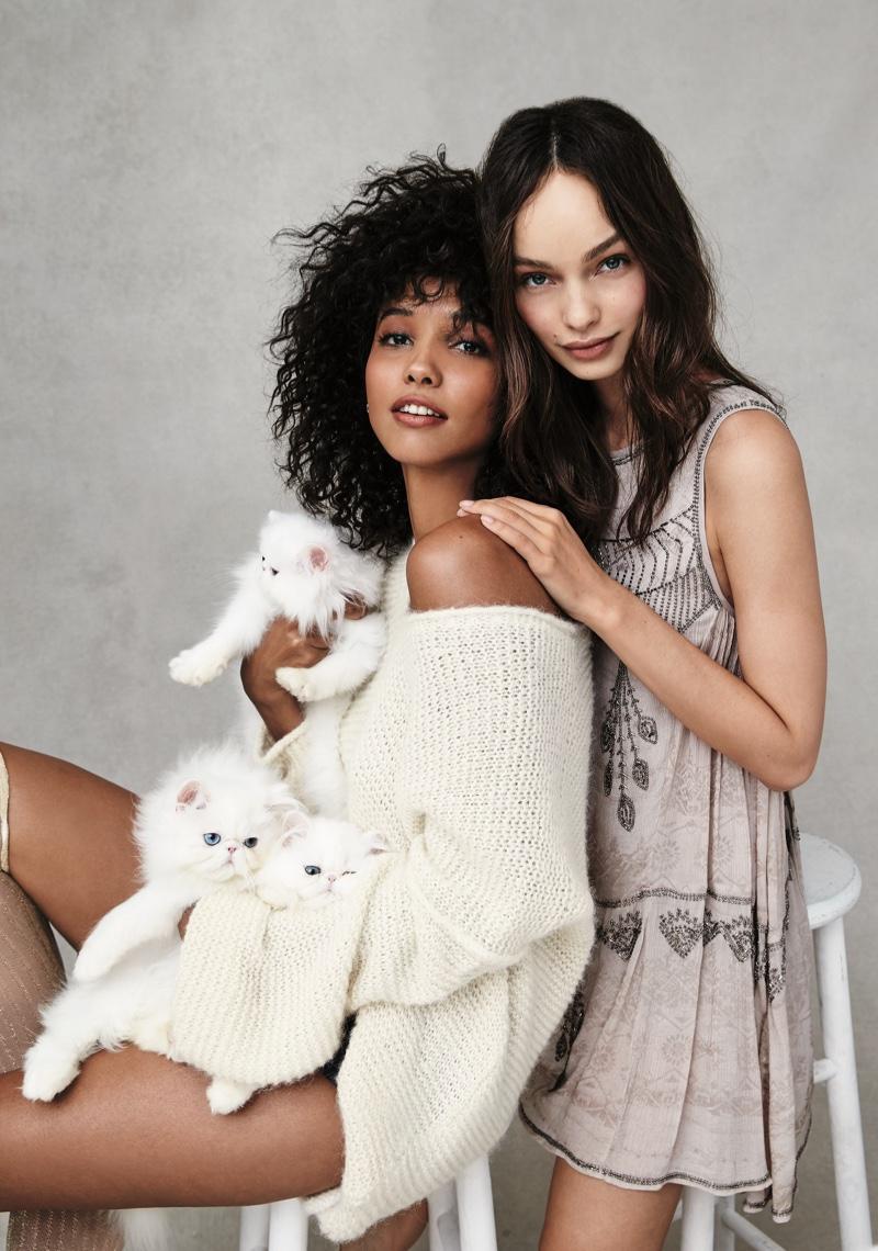 Cora wears Free People Allure Pullover Sweater and Luma wears Free People Delilah Mini Dress