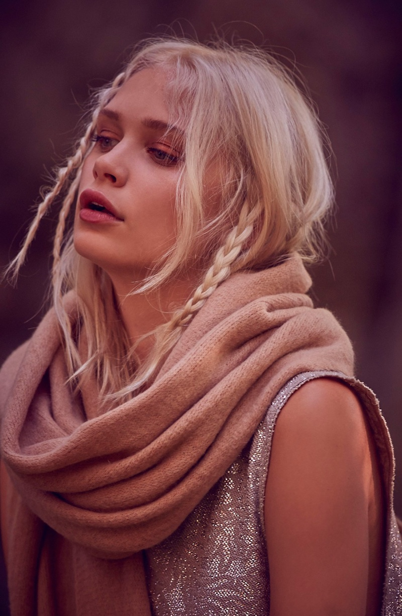 Free People Kolby Brushed Scarf and Casual Fancy Metallic Top