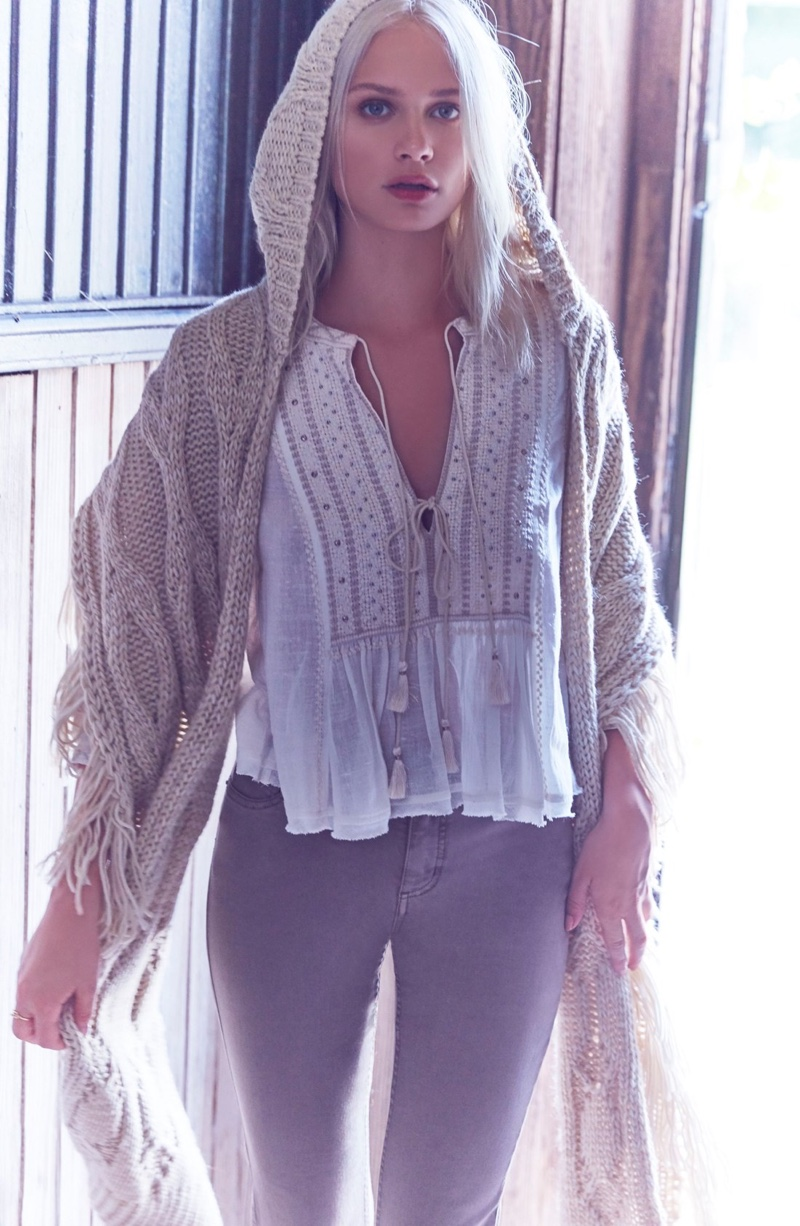 Free People The Wild Life Embroidered Blouse, Hooded Cable Knit Wrap and Destroyed Jeans