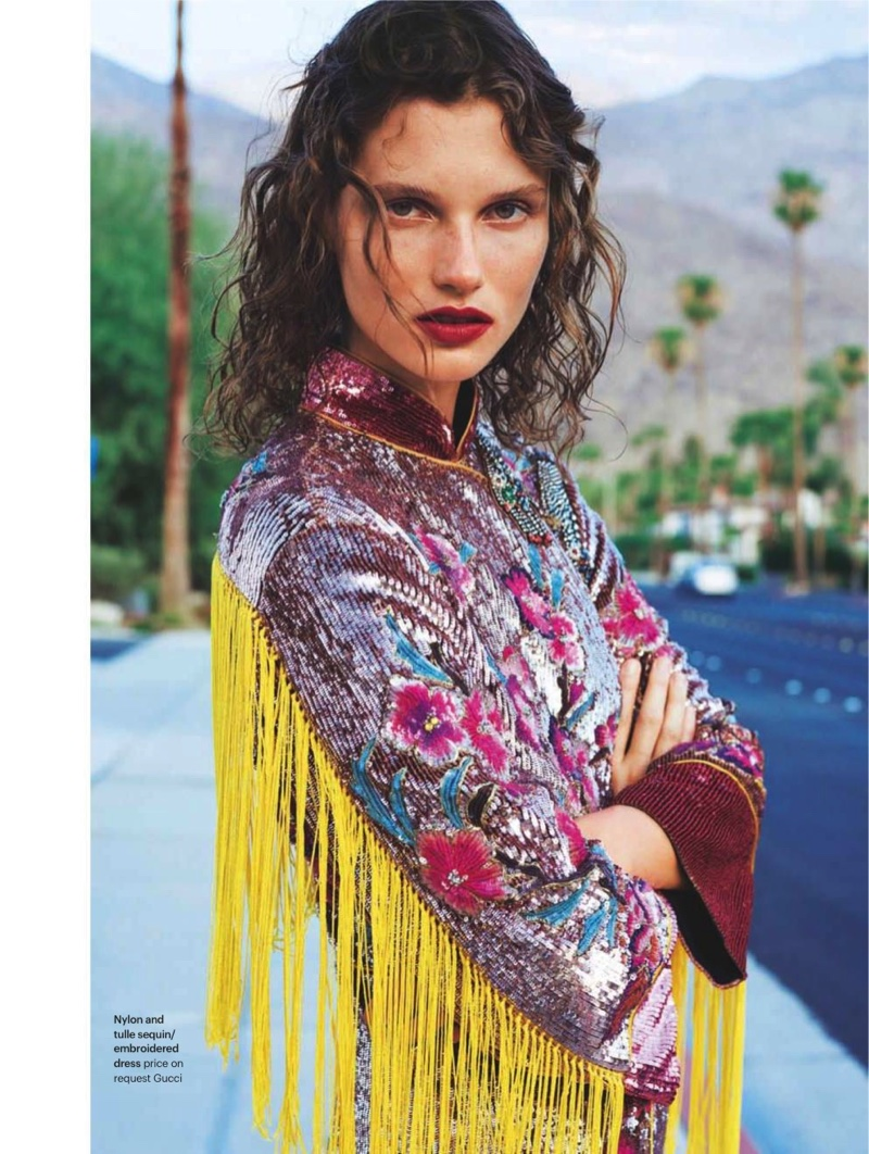 Embracing fringe, Giedre Dukauskaite poses in nylon and tulle sequin embroidered dress Gucci