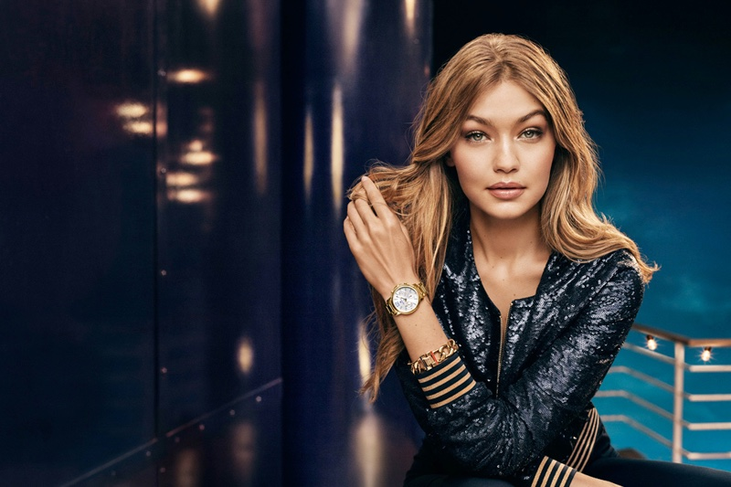 Gigi Hadid wears sequined jacket for Tommy Hilfiger's holiday 2016 campaign