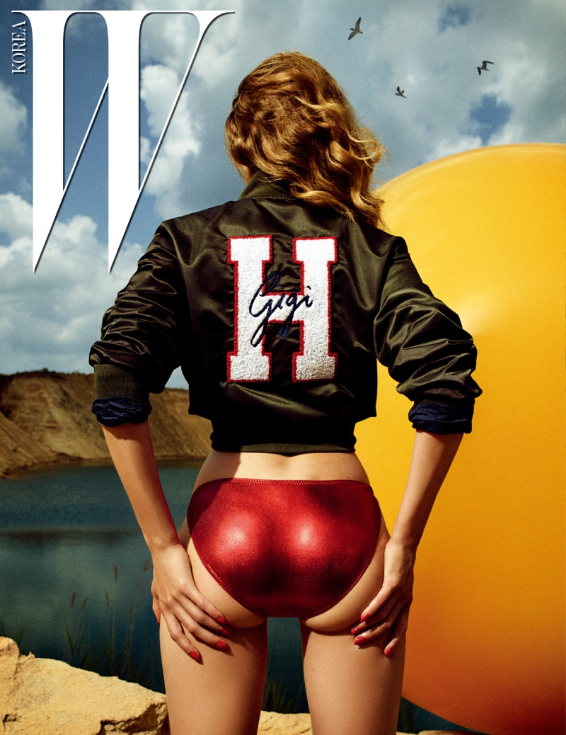 Model Gigi Hadid wears customized Tommy Hilfiger jacket with red bikini bottoms