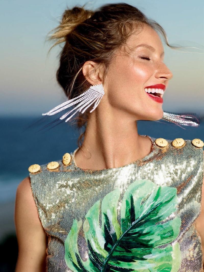 Model Gisele Bundchen Poses In Sequin Top With Chandelier Earrings