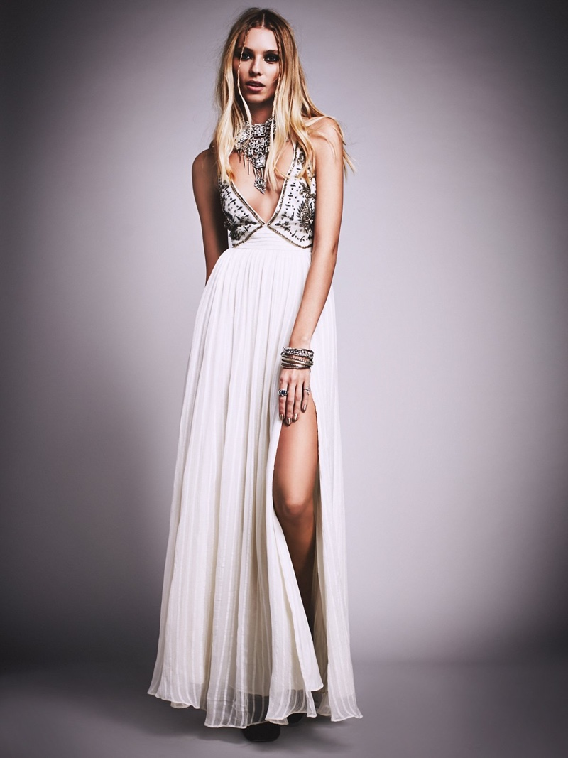 Free People Golden Dawn Embellished Maxi Gown