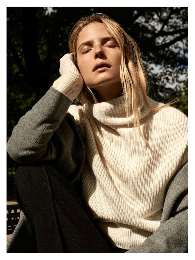 H&M Cashmere-Blend Coat and Cashmere-Blend Sweater in Natural White