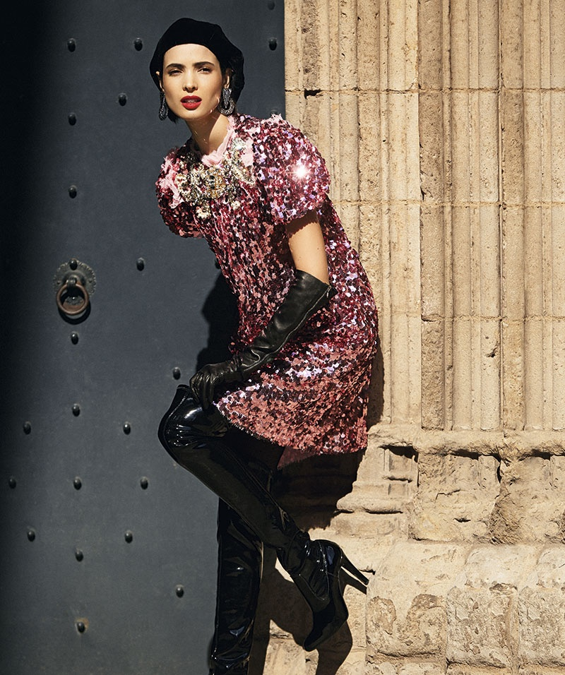Looking pretty in pink, Hanaa Ben Abdesslem wears sequined Dolce & Gabbana dress