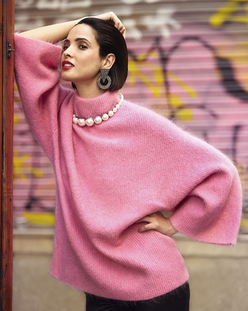 Photographed in Barcelona, Spain, model Hanaa Ben Abdesslem wears pink looks for the fashion editorial