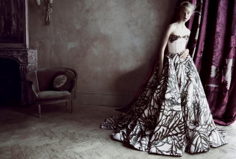 Hedvig Palm poses in Giles Deacon Couture corset and gown