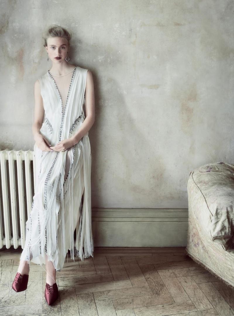 Model Hedvig Palm poses in Alberta Ferretti Couture dress