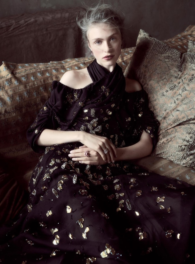 Hedvig Palm models Dior Haute Couture silk and chiffon dress