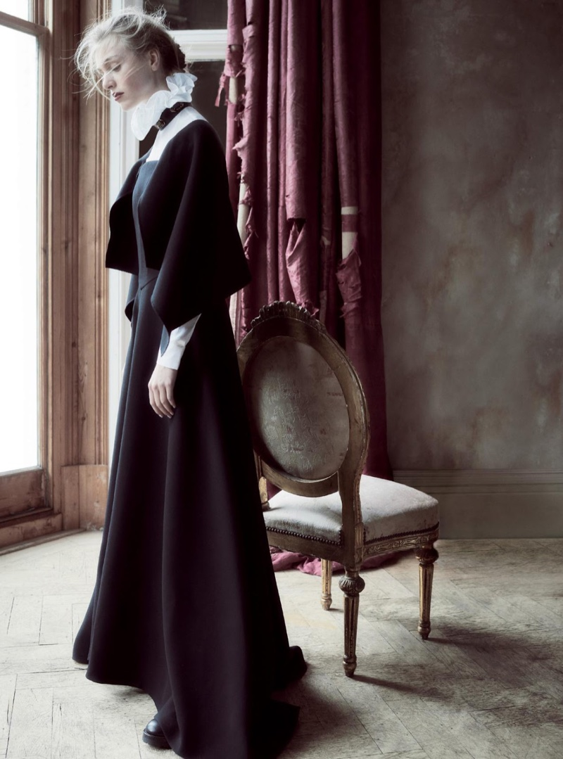 Hedvig Palm poses in high-neck Valentino Haute Couture dress