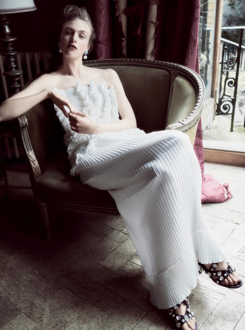 Model Hedvig Palm lounges in Givenchy Haute Couture gown by Riccardo Tisci