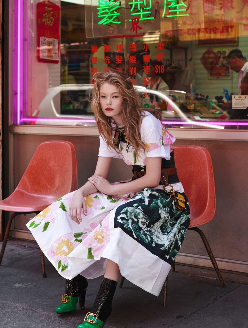 Model Hollie-May Saker poses in looks from Prada's fall collection for the editorial